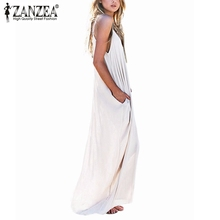 Vestidos 2017 Summer Style Women Boho Strapless Sexy V Neck Sleeveless Dress Casual Loose Long Maxi Solid Dress White Oversized