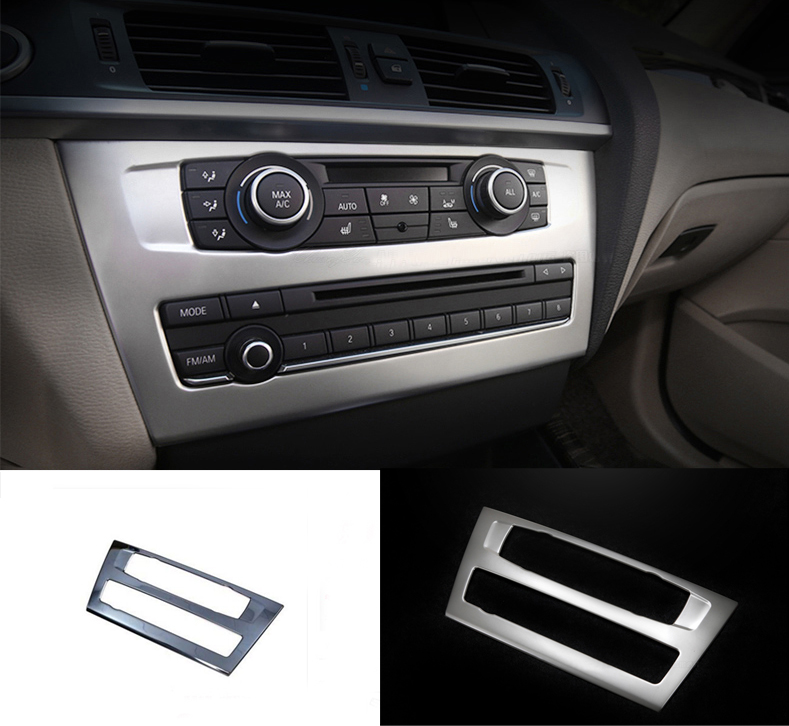 Interior Middle Console CD Panel Decorative Cover Trim Sequin For BMW X3 F25 1pcs Car Stainless Steel Accessories Strip Sticker