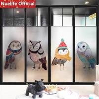 50x200cm cartoon owl t pattern frosted glass film kids room kindergarten children's room bathroom glass door window film N3