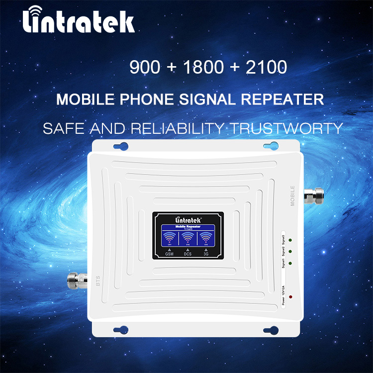 Lintratek 4g amplifier Tri Band Repeater 2G 3G 4G 2 Antennas 900 1800 2100 MHz Mobile Phone Signal Booster LTE Amplifier Kit 50