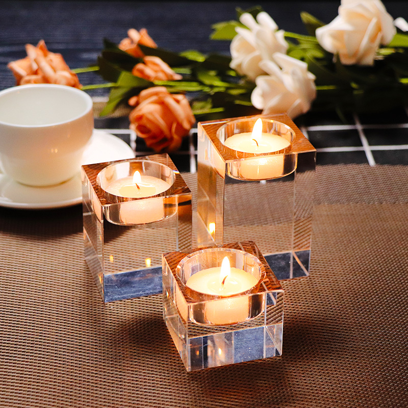 3pcs/set Transparent K9 Crystal Cube Cup Candle Stand Holder 3 Sizes Europe Tealight Holders for Wedding Home Decor Candlestick
