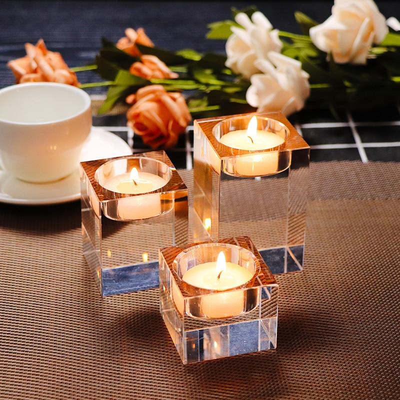 3vnt / rinkinys Skaidrus K9 kristalų kubo taurė Žvakių stovo laikiklis 3 dydžiai Europa Tealight laikikliai vestuvių dekoravimui Žvakidė