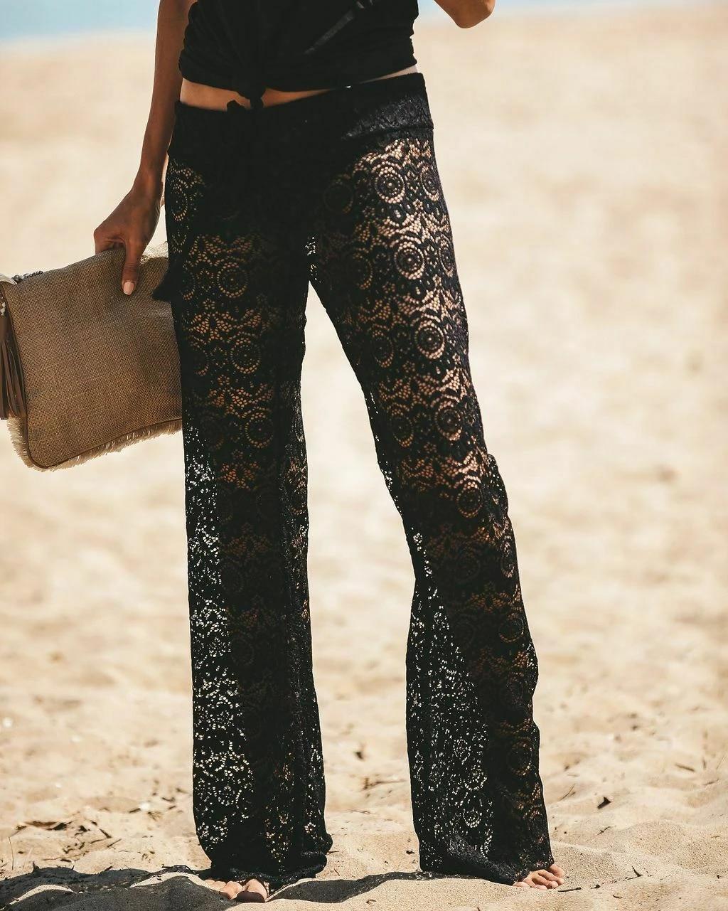 2 Colores Moda Mujer Playa Pantalones Encaje Malla Transparente Low Wist Hollow Out Solid Crochet Cover Up Pants Lounge Pants Verano Pantalones Y Pantalones Capri Aliexpress