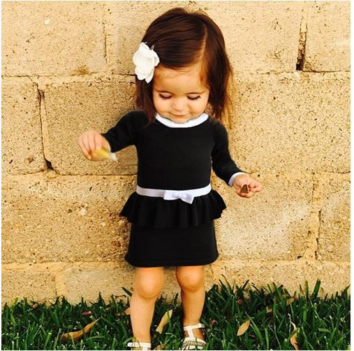 ins* new arrival 2015 baby girl knitted sweater dress kids autumn clothing sets black & red cute fashion free shipping