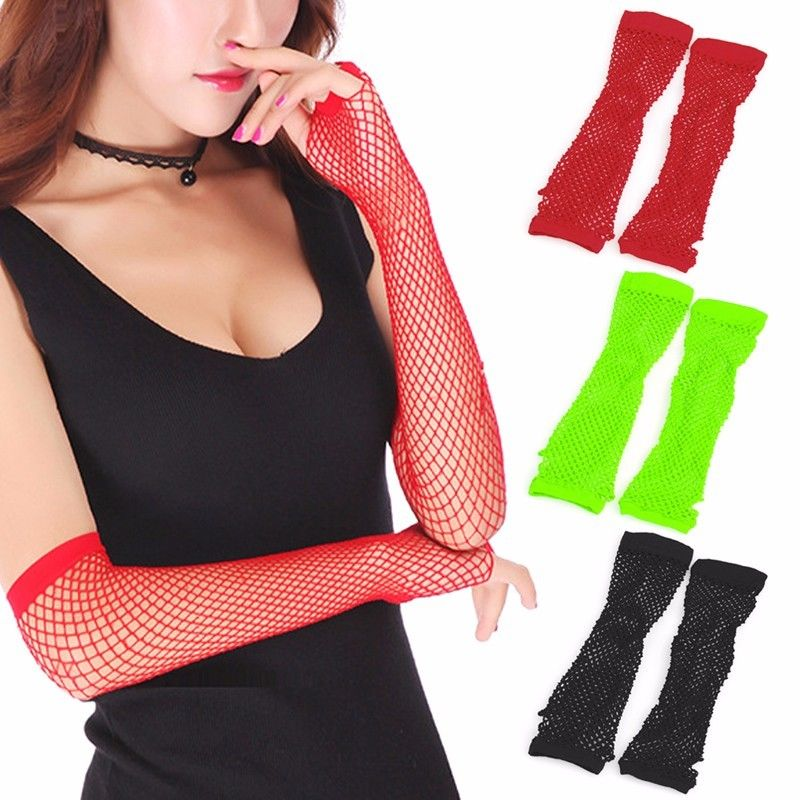 New Party Lace Fingerless Fishnet Gloves Mittens Sexy Women Lady Punk Dance Costume Black, Red, Fluorescent Green