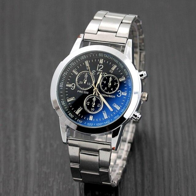 fd18a964a4c Relógio dos homens 1 pc Aço Inoxidável Esporte Quartz Horas Analógico Relógio  de Pulso de moda