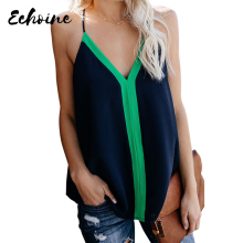 Echoine Sexy Adjustable Spaghetti Straps V Neck Black Bold Beautiful Racerback Camis Tops Women Summer Casual Beach Holiday