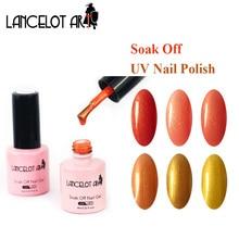 LANCELOT ART 8ml Gel Nail Polish Long Lasting Golden Glitter Colors Art Vernis Semi Permanent Soak off UV LED Color