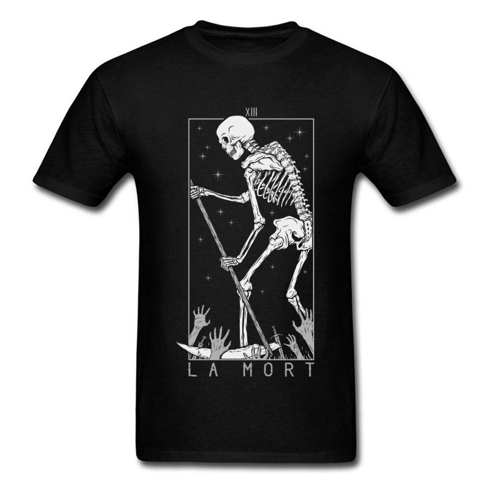 La Mort camiseta calavera camiseta del día de La muerte para hombres esqueleto estampado Streetwear Halloween algodón ropa Hipster superior camisetas negro