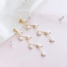1Pair Imitation Pearl Stud Earring Korean Simple Long Section Personality Earring Fashion Jewelry Wholesale Wedding Gift(China)