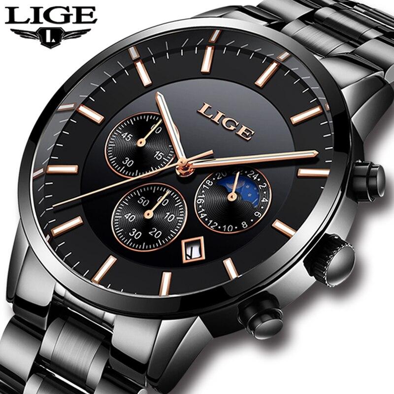 2019 LIGE Hommes Montres Top Marque De Luxe De Mode Sport Quartz Montre Hommes Noir Acier Inoxydable Étanche Horloge Relogio Masculino