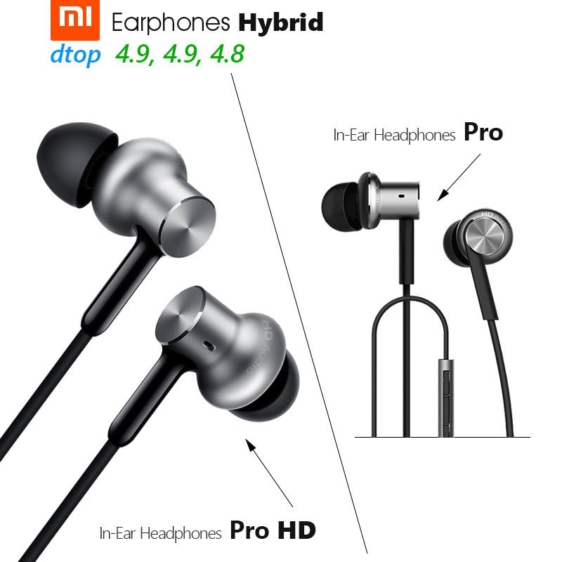 Fones de ouvido xiao mi híbrido pro hd, original, triplo/dual driver, dyna mi c + armadura equilibrada controle de linha na orelha mi c