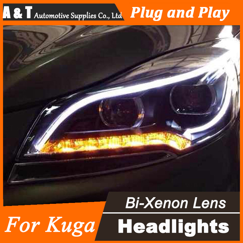 Car Styling for Ford Kuga Headlight assembly 2014 Escape LED Headlight DRL Lens Double Beam H7 with hid kit 2pcs. hireno headlamp for 2004 10 hyundai elantra headlight headlight assembly led drl angel lens double beam hid xenon 2pcs