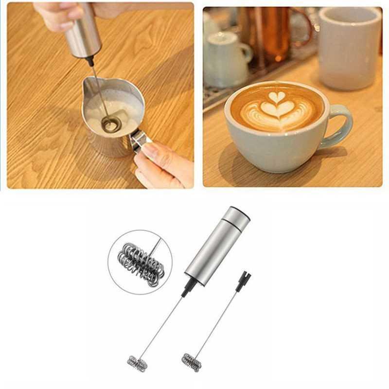 Venda quente elétrica handheld leite espuma dupla primavera batedor cabeça agitador misturador misturador agitador máquina de café ferramenta
