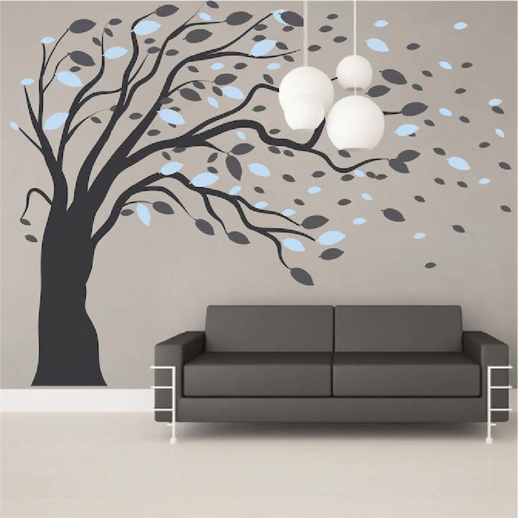 Charming ModishBlowing Tree Wall Art Stickers Artistic Design Wall Decals Hot DIY  Self Adhesive Wallpaper Nontoxic PVC Wall Tattoo A614C In Wall Stickers  From Home ...