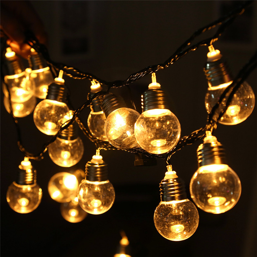 KAKUDER 220V 20 LED Light Bulb Ball String Fairy Lights For Bedroom Xmas Wedding Party Bedroom Halloween party decorations
