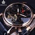 Orkina Tourbillon Engrenagem Moldura Preta Designer de Ouro Rosa de Ouro Designer De Luxo Mens Watch Top Marca de Luxo Relógio Automático Dos Homens