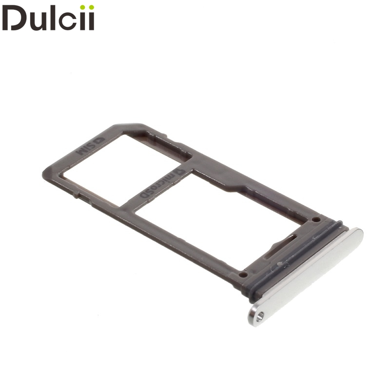 Dulcii for Samsung Galaxy S 8 OEM SIM/Micro SD Card Tray Holder Repair Part for Samsung Galaxy S8/S8 Plus - Silver