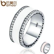 Bamoer натуральная стерлингового серебра 925 Радиант сердца и белая эмаль Ясно CZ палец кольцо для женщин Свадебные украшения подарок PA7623