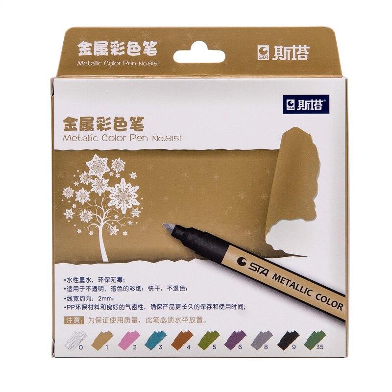 EZONE 10Pcs Set Marker Pen Art Marker For Album Black Paper Candy Color Marking Pen Canetas Kawaii Drawing School Art Supplies in Marker Pens from Office School Supplies