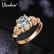 Vienkim, 1 шт., Хит, Кристальные, серебристые, женские, лист, обручальные кольца с цирконием, кубические, изящные, для девушек, белая роза, Золотое кольцо, размер 6, 7, 8, 9