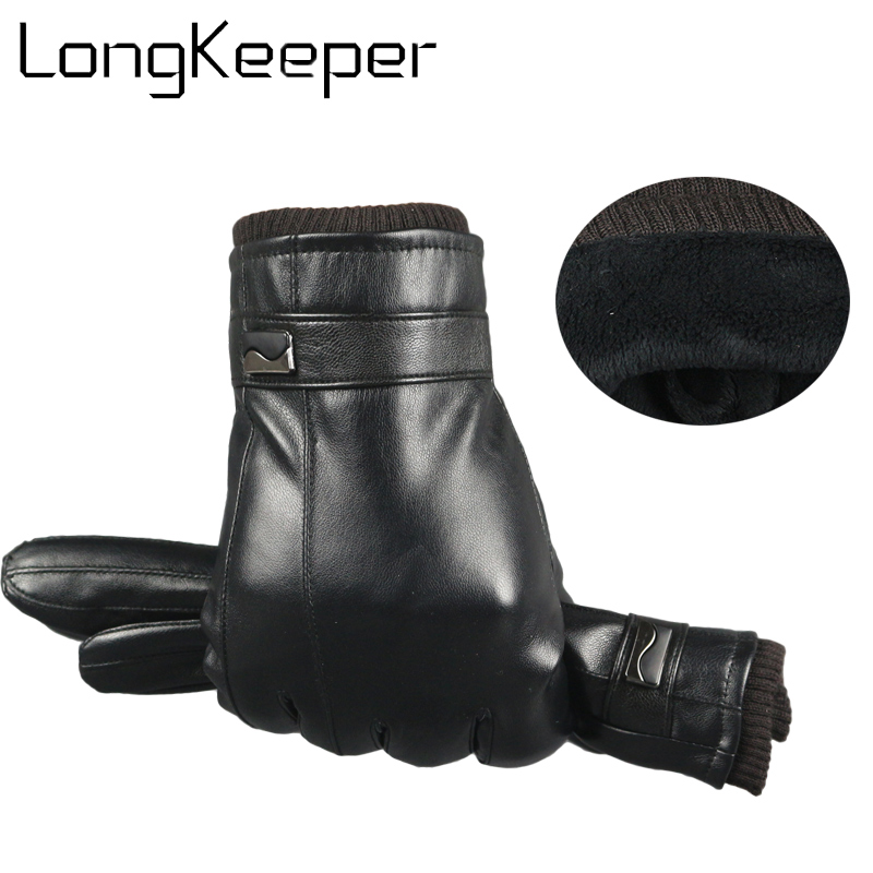 Men's Gloves 2018 Leather Gloves Genuine Leather Black Leather Gloves Men Touch Screen Driving Warm Brand Mittens Handschoenen Guantes Luva Activating Blood Circulation And Strengthening Sinews And Bones
