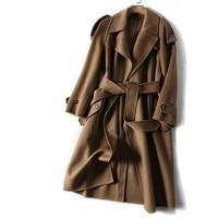 Vintage Elegant Women Winter Camel Wool Cashmere Coats Long Sleeve Classic Turn Down Collar Female Outerwear Winter Wool Coat