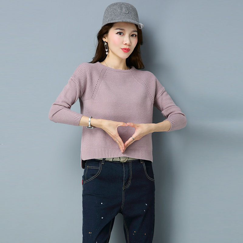 Jersey Mujer invierno 2018 Autumn Winter Women Sweaters and Pullovers O Neck Solid Hollow Out Short Sweater Pull Femme