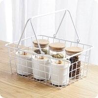 Estilo japonês ferro cesta de armazenamento branco portátil sundries cesta de armazenamento criativo desktop cesta de armazenamento frutas wx9281659