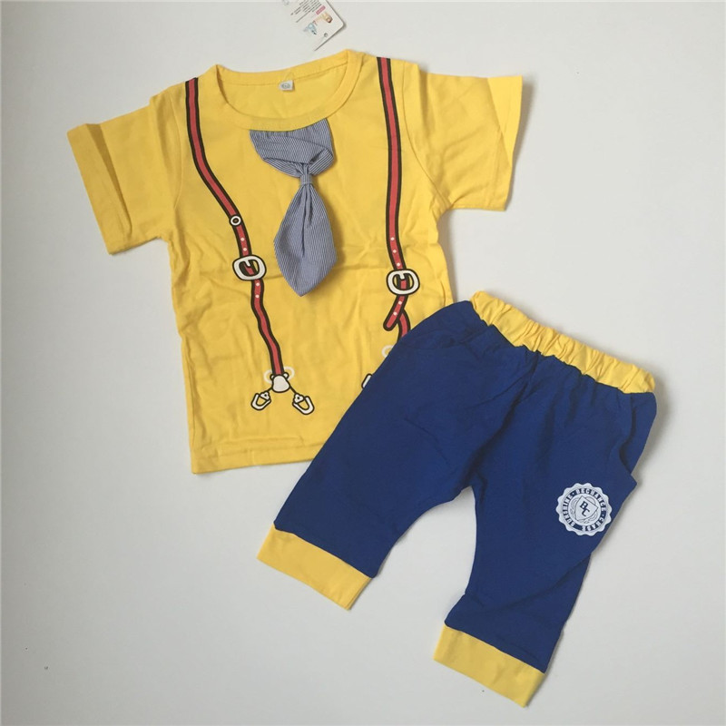 kids 2pcs clothing set baby cotton casual clothing suit boys Sport Style clothes yellow Strap printing Tie tops + Letters shorts