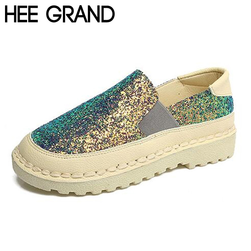 HEE GRAND Women Flats 2017 Fashion Spring Lazy Slip on Flat with Bling Bling Glitter Casual Soft Shoes Woman Size 40 XWC1158 gold sliver shoes woman for 2016 new spring glitter bling pointed toe flats women shoes for summer size plus 35 40 xwd1841