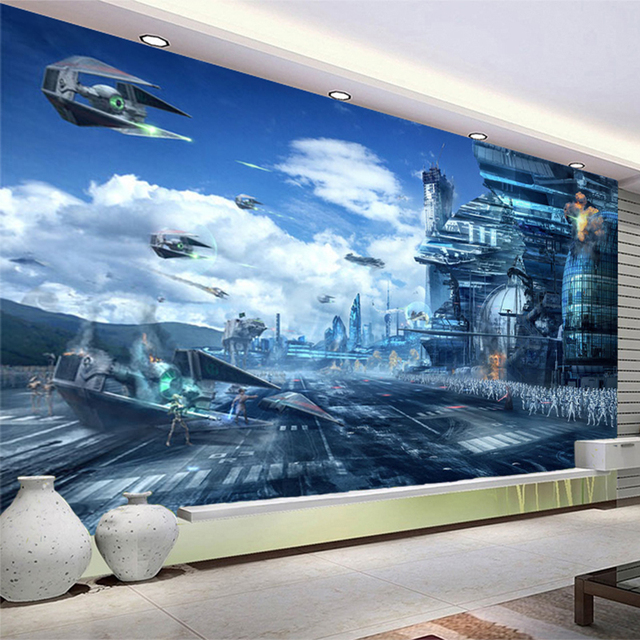 0892969e5d7bae HD Fantasy Creatieve Muurschildering Star Wars Science Fiction Foto Behang  Kid's Slaapkamer Woonkamer 3D Non-