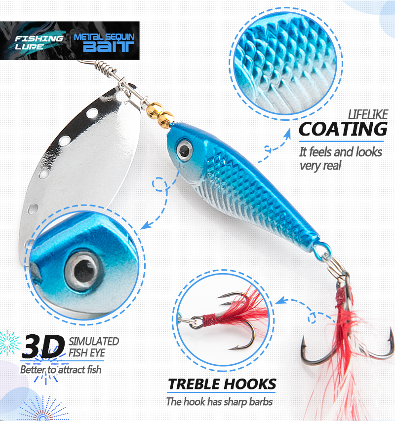 spinner Spoon Metal Bait Fishin Lure Sequins Crankbait Spoon baits for Bass Trout Perch pike rotating Fishing (4)
