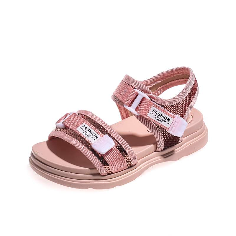 Creative Hotsale 2019 Pu Leather Girlssandals New Kids Soft-soled Sequins Princess Fashion Open Toe Beach Shoes Boys 4-15 Years Old 753 Unequal In Performance Children's Shoes Girls