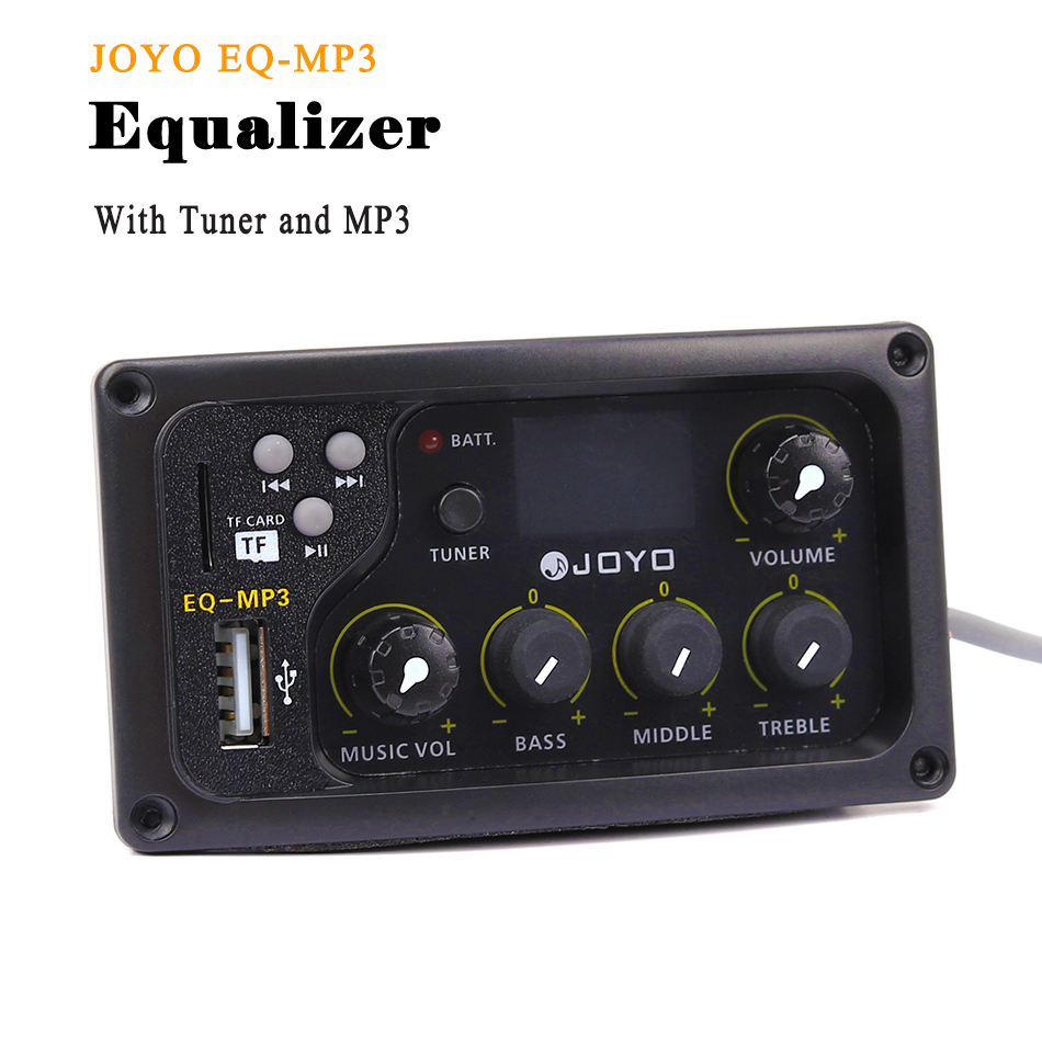 JOYO EQ-MP3 Acoustic Guitar Equalizer 3-band EQ Pickup With MP3 And Tuner Function LCD Display Bass Middle Treble Volune Adjust