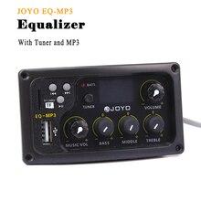 JOYO EQ MP3 어쿠스틱 기타 이퀄라이저 MP3 및 튜너 기능이있는 3 밴드 EQ 픽업 LCD 디스플레이베이스 미들 트레블 볼륨 조정