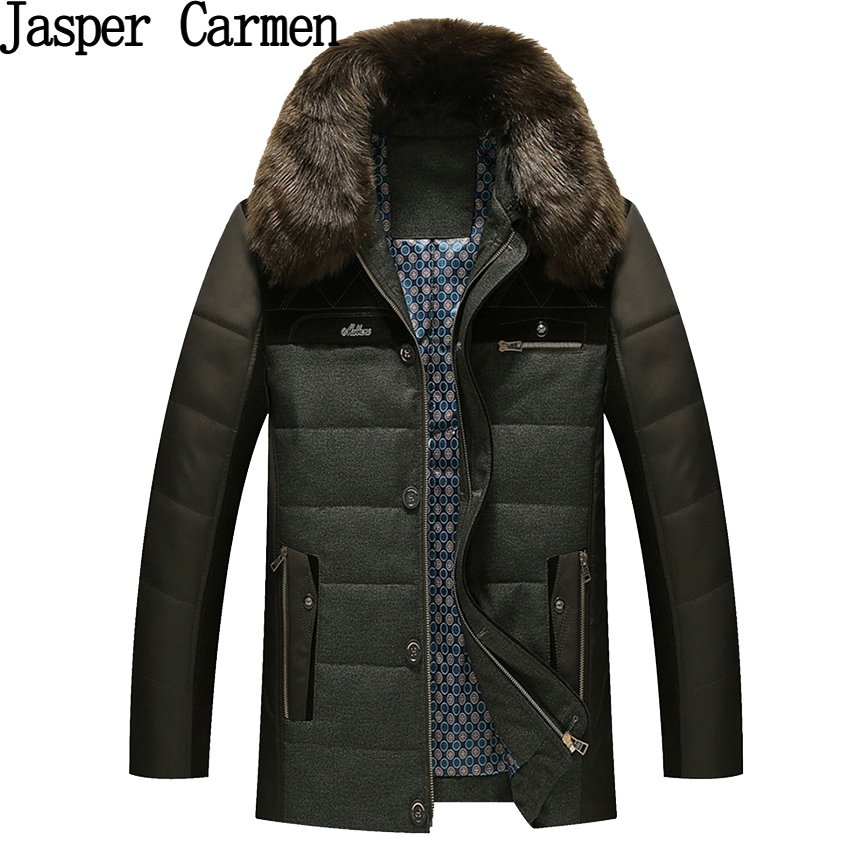 ФОТО 2017 old men's cotton winter winter coat middle-aged men's father with large thick fur collar coat cashmere hot sale Z118