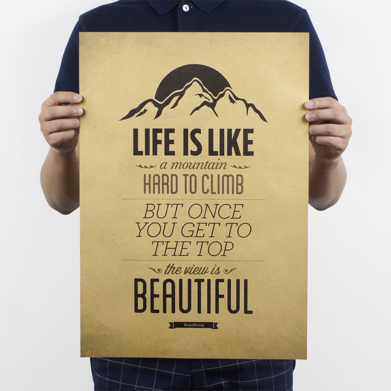 life is like a mountain poster retro decorative painting kraft paper ...