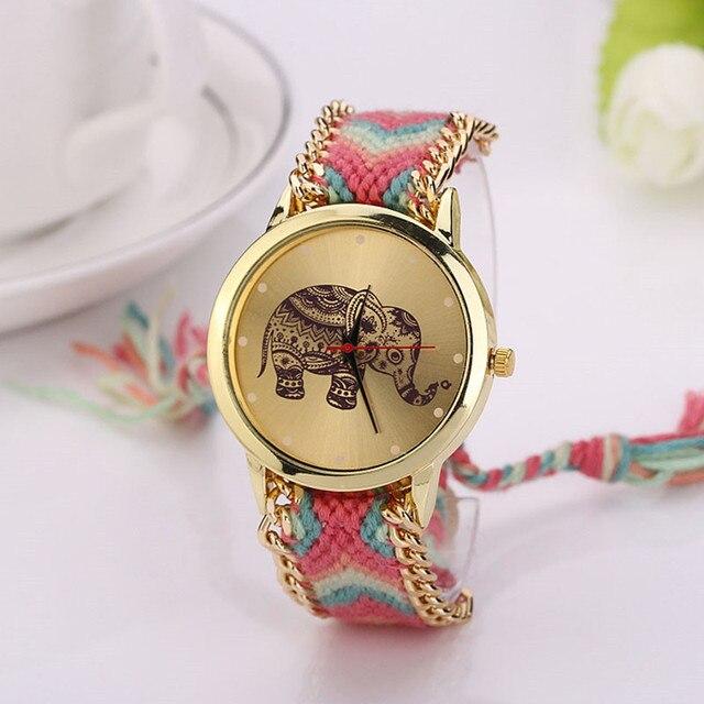 2016 Unique Fashion Women Girls Women Elephant Pattern Weaved Rope Band Bracelet Dial Clock Quartz Watch Gift Relogio feminino