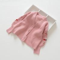 Everweekend Ins Enfants Filles Floral Brodé Chandail Tricoté Cardigans Vestes Rose Violet Jaune Couleur Automne Printemps Vêtements