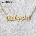 """Lindo presente banhado a ouro """"babygirl"""" nome colar choker caligrafia assinatura plaqueta de aço inoxidável colar para meninas"""
