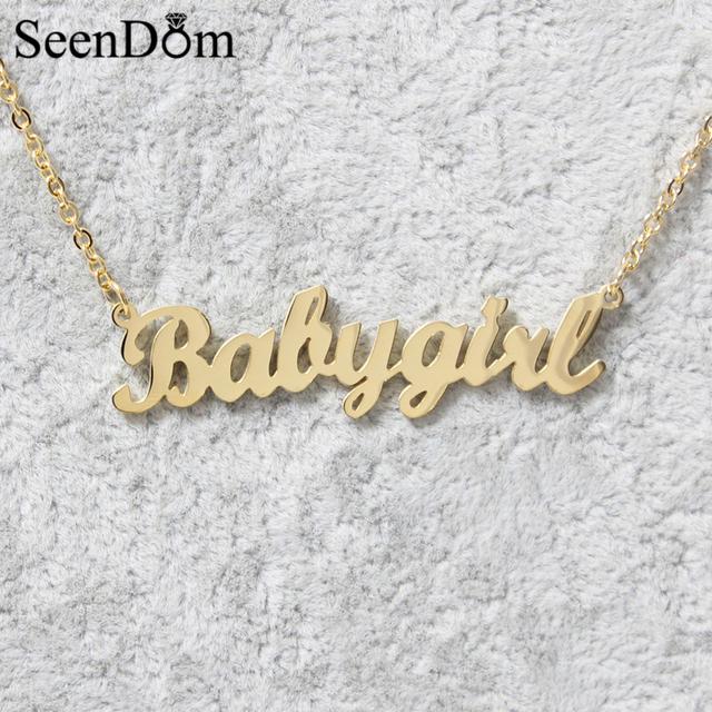 Lovely Gift Gold Color Quot Babygirl Quot Name Necklace Stainless