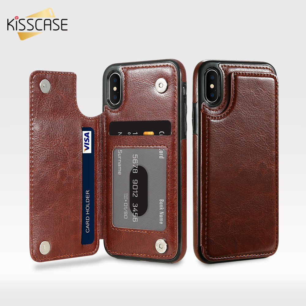 KISSCASE PU Leather Case For iPhone 8 7 6 6s Plus X XS Max