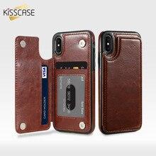 KISSCASE PU Deri iphone için kılıf 8 7 6 6 s Artı X XS Max XR Retro Flip Telefon iphone kılıfları X 10 5 5 S SE Kart Sahipleri K...