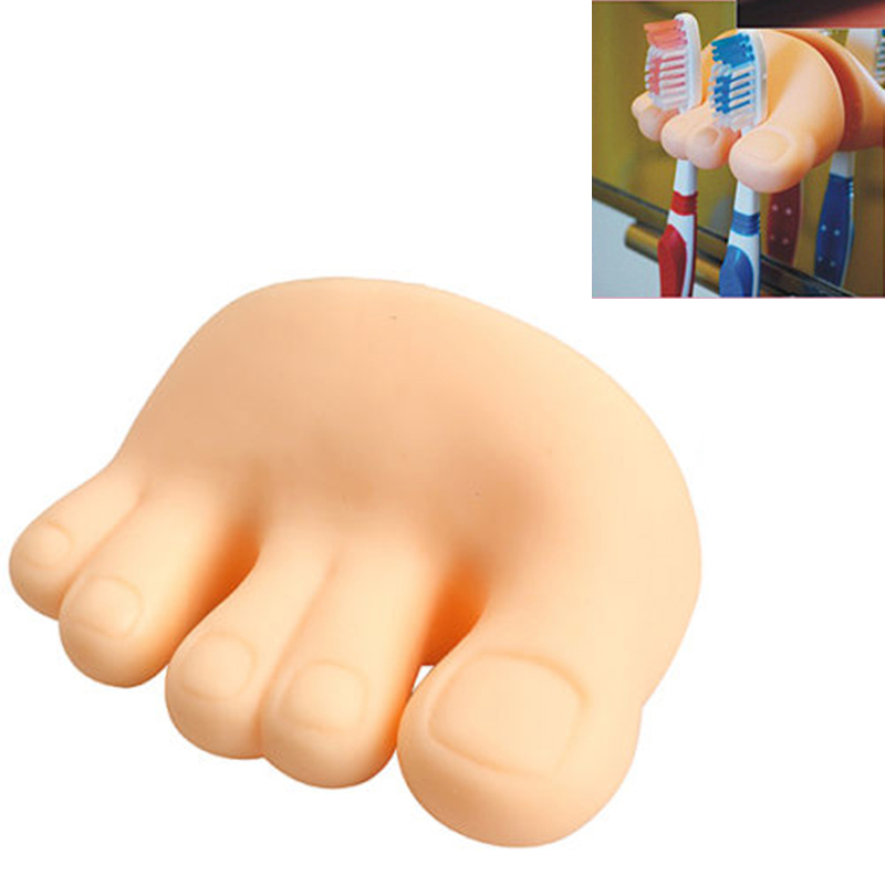 Funny Pen Holder Wall Mount Toothbrush Foot Shaped Pencil Stand Cute Toe Suction