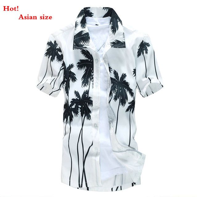Men's Tropical Hawaiian Shirts Full Floral Short Sleeve Casual loose Large size Beach Party Shirts Tops For Free Shipping ST19