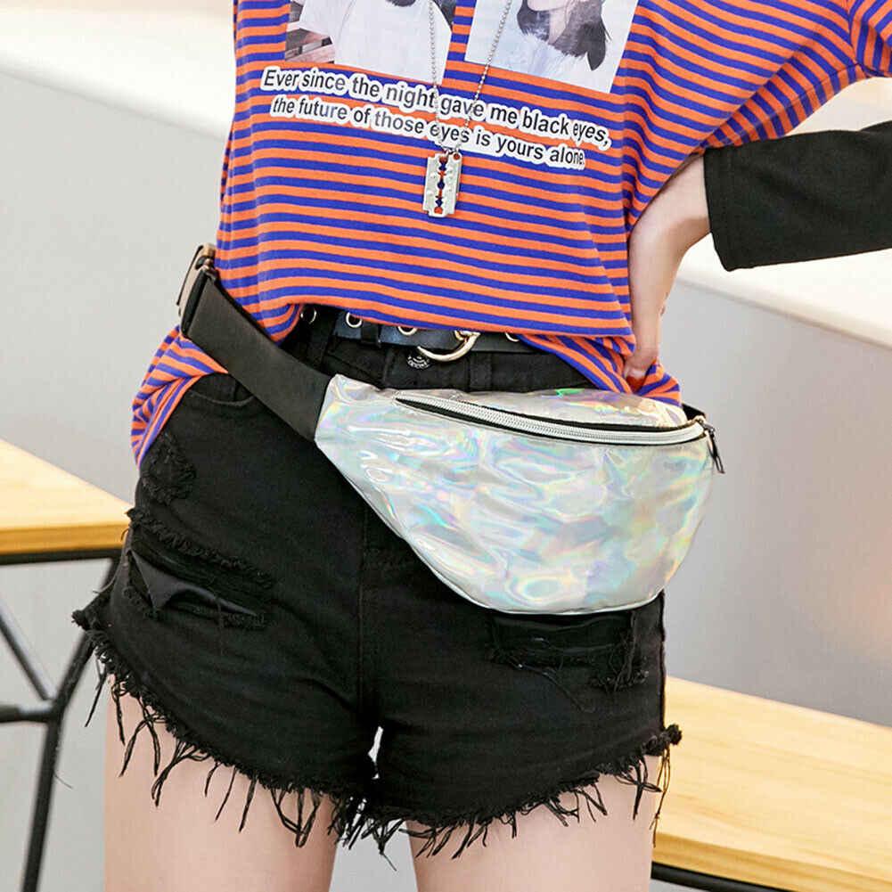 2019 最新のホット女性ガールズソリッドレーザーウエストファニーパックベルトバッグポーチ旅行ヒップボムバッグ女性小さな財布