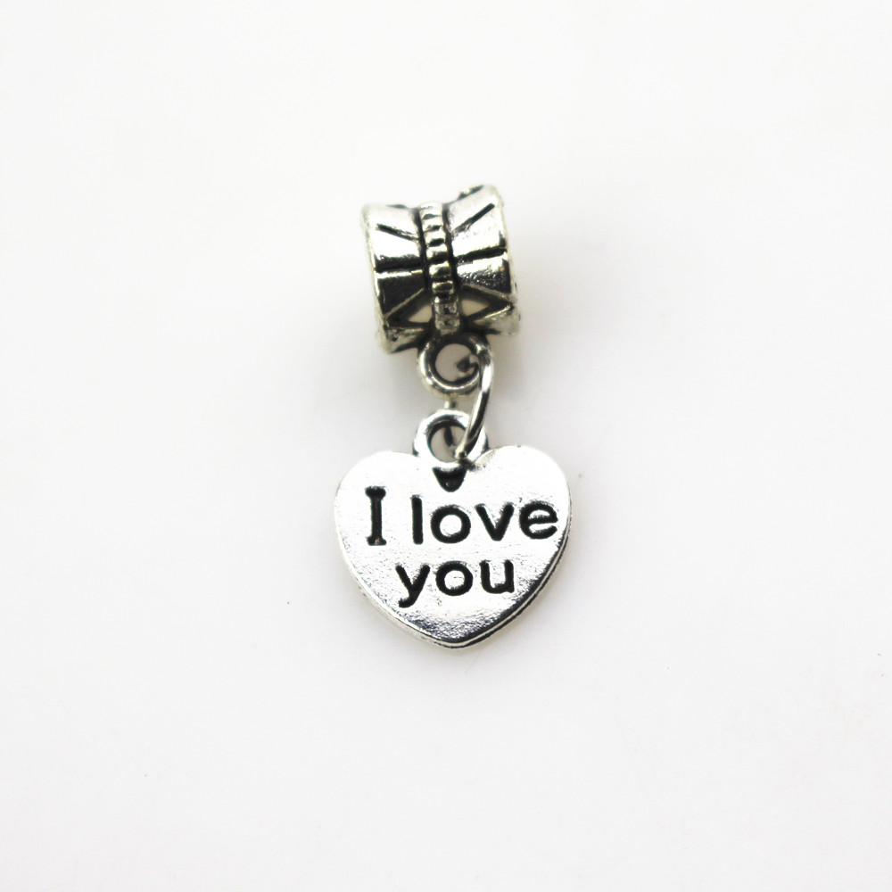 Hanging charms 20pcs/lot heart I love you charms big hole pendant beads fit women bracelet /bangle diy jewelry dangle charms