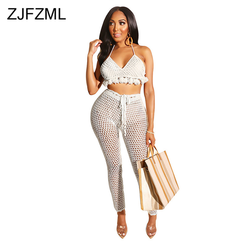 Knitted Crochet 2 Piece Outfits For Women Summer Clothes Halter Tassels Spliced Bra Top +Skinny Pant Beach Bohemian Matching Set