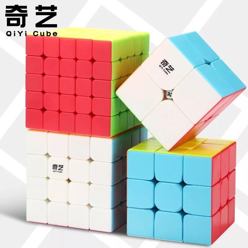 Qiyi 2x2 3x3 4x4 5x5 Cubo Mágico Cubo WarriorW QidiS QiyuanS QizhengS cubos de velocidade 4pcs Conjunto Brithday Presente Brinquedo Educacional